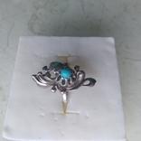 Перстень срібний 925 СССР з бірюзою 4г (р.18 - 18,5), фото №3