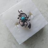 Перстень срібний 925 СССР з бірюзою 4г (р.18 - 18,5), фото №4