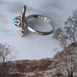 Перстень срібний 925 СССР з бірюзою 4г (р.18 - 18,5), фото №6