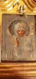 Икона в киоте св. Николай серебро позолота, фото №2