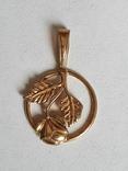 Советский кулон. Золото 583 проба. Роза., фото №3
