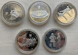 Монеты 5000 вон, 5 штук, серебро 925, вес 16,8 грамма, Олимпиада Сеул 1987 год, фото №2