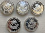 Монеты 5000 вон, 5 штук, серебро 925, вес 16,8 грамма, Олимпиада Сеул 1987 год, фото №3