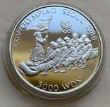 Монеты 5000 вон, 5 штук, серебро 925, вес 16,8 грамма, Олимпиада Сеул 1987 год, фото №4