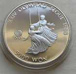 Монеты 5000 вон, 5 штук, серебро 925, вес 16,8 грамма, Олимпиада Сеул 1987 год, фото №7