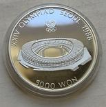 Монеты 5000 вон, 5 штук, серебро 925, вес 16,8 грамма, Олимпиада Сеул 1987 год, фото №9