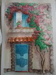 """""""Мамине віконце"""" акварель скетч дом цветы автограф, фото №2"""