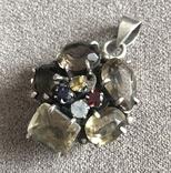 Массивный серебряный кулон с цитрином и раухтопазом (серебро 925 пр, вес 26 гр), фото №2
