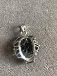 Массивный серебряный кулон с цитрином и раухтопазом (серебро 925 пр, вес 26 гр), фото №4
