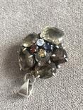 Массивный серебряный кулон с цитрином и раухтопазом (серебро 925 пр, вес 26 гр), фото №10