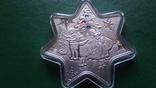 1 доллар 2010 Ниуэ Рождество.Звезда Кристаллы серебро унция, фото №2