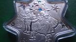 1 доллар 2010 Ниуэ Рождество.Звезда Кристаллы серебро унция, фото №3