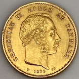 20 крон. 1873. Кристиан IX. Дания (золото 900, вес 8,97 г), фото №2