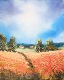 Картина, За червоним полем, 25х20 см. Живопис на полотні, фото №2