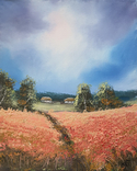 Картина, За червоним полем, 25х20 см. Живопис на полотні, фото №3