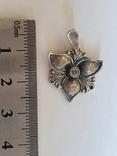 Советский подвес - цветок. Серебро 925 проба. СССР., фото №2