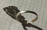 Серебряный гарнитур кольцо и серёжки 925 проба, фото №4