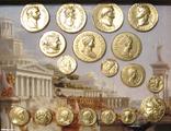 Золотые монеты античности, древний Византий. Копии, со стеклом, 24х19 см., фото №4