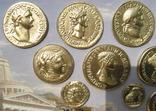 Золотые монеты античности, древний Византий. Копии, со стеклом, 24х19 см., фото №5