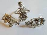 Советский набор кольцо + серьги. Серебро 875 проба. 20 размер., фото №3