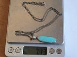 Кулон + цепочка 60 см. Серебро 925 проба. Бирюза., фото №7