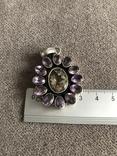 Массивный серебряный кулон с аметистом и цитрином (серебро 925 пр, вес 16,1 гр), фото №4