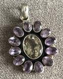 Массивный серебряный кулон с аметистом и цитрином (серебро 925 пр, вес 16,1 гр), фото №2