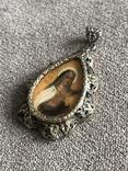 Серебряная подвеска рисованая Иконка с позолотой (серебро 800 пр, вес 6,6 гр), фото №3