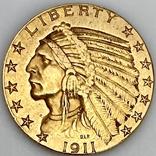 5 долларов. 1911. США (золото 900, вес 8,35 г), фото №2