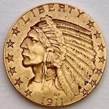 5 долларов. 1911. США (золото 900, вес 8,35 г), фото №11