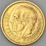 2,5 песо. 1945. Мексика (золото 900, вес 2,08 г), фото №2