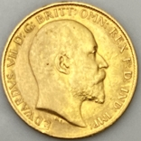 1/2 фунта (1/2 соверена). 1909. Эдуард VII. Великобритания (золото 917, вес 3,97 г), фото №4