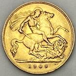 1/2 фунта (1/2 соверена). 1909. Эдуард VII. Великобритания (золото 917, вес 3,97 г), фото №5