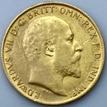 1/2 фунта (1/2 соверена). 1909. Эдуард VII. Великобритания (золото 917, вес 3,97 г), фото №6