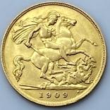 1/2 фунта (1/2 соверена). 1909. Эдуард VII. Великобритания (золото 917, вес 3,97 г), фото №7