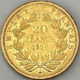 20 франков. 1859. Наполеон III. Франция (проба 900, вес 6,42 г), фото №3