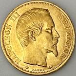 20 франков. 1859. Наполеон III. Франция (проба 900, вес 6,42 г), фото №4