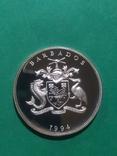 5 долларов 1994  Барбадос 31.47 г Ag 925 ПРУФ., фото №3