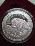 Саблезуб Саблезубый тигр Смилодон Гана Гиганты ледникового периода унция серебро 999, фото №2