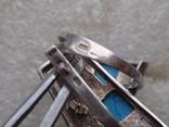 Массивный набор из серебра 925, натур. Бирюза. Ранняя Украина по советскому дизайну., фото №8