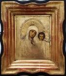 Ікона Казанська Богородиця, латунь 17,7х14,5 см, кіот, фото №4