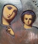 Ікона Казанська Богородиця, латунь 17,7х14,5 см, кіот, фото №11
