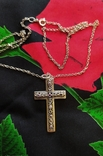 Серебряный крест с камнями аметистами, филиграная работа, цепочка, фото №2