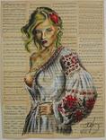 Украинка, акрил на страницах старых нотных книг, фото №2