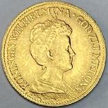 10 гульденов. 1917. Вильгельмина. Нидерланды (золото 900, вес 6,70 г), фото №2