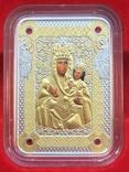 Ікона Зарваницької Матері Божої 1 долар 2014 рік Срібло 999' позолота, фото №3