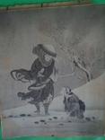 Старая гравюра на шёлке 25/21см., фото №4