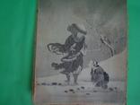 Старая гравюра на шёлке 25/21см., фото №6
