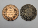 2 монеты по 1/4 анна, Британская Индия, 1835 г., фото №2