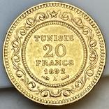 20 франков. 1892. Тунис (золото 900, вес 6,43 г), фото №8